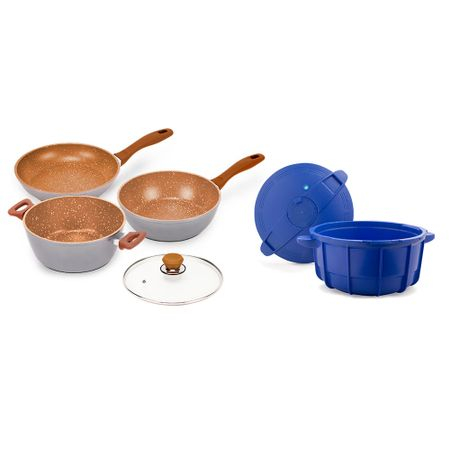 Trio De Panelas Flavorstone 24cm Cobre Color Edition + 1 Tampa + Pan Chef...