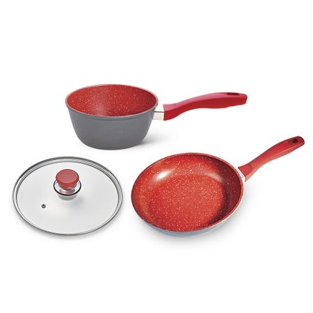 Flavorstone Vermelha Saute Petit 20cm + Sauce 20cm + Tampa 20cm