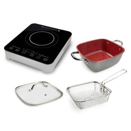 Cooktop Gourmet Touch Polishop + Panela Family Size 24 Cm + Tampa 24 Cm + Cesta...