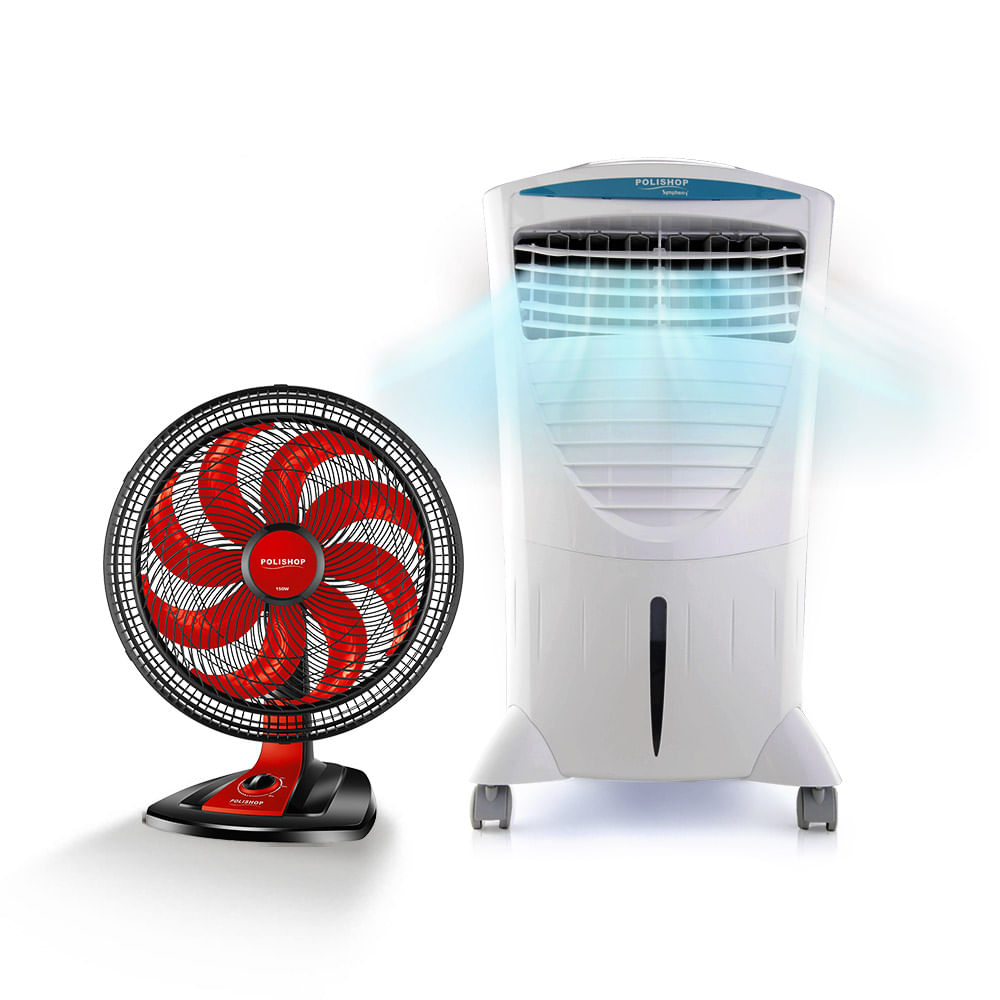 Climatizador e Umidificador Comfort Breeze Polishop By Symphony + Ventilador De Mesa New Ultra Wind Wide 50cm Polishop
