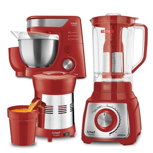 Batedeira Planetária + Liquidificador + Extrator de Sucos Turbo Premium Inox Red Ichef Polishop e GANHE R$129 de Desconto.